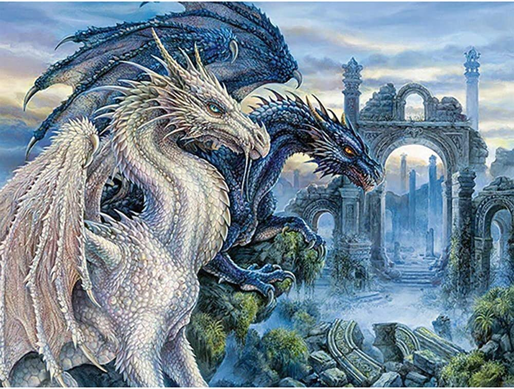 DIY 5D Diamond Embroidery Dragon Painting Cross Stitch Craft Home Office Decor