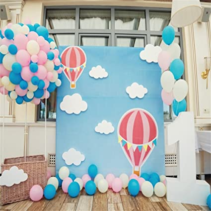 LFEEY 5x5ft Kids First Birthday Party Baby Shower Photography Backdrop Hot Air Balloons Wood Floor Girl