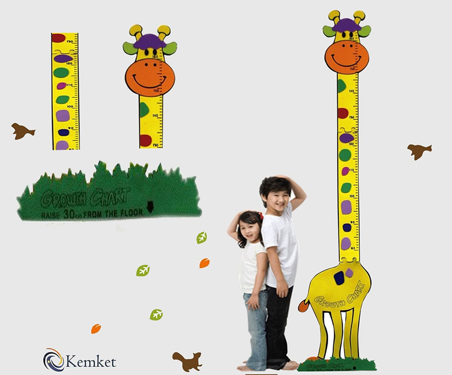 Children's Height Chart Wall Stickers: Perfect for a Child's Bedroom or Baby Nursery: A Wonderful Educational Tool & Fun Gift Idea! (1.6m, Sun Flower)