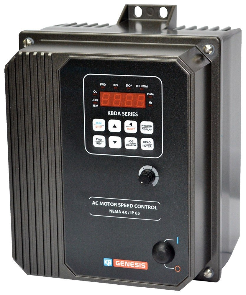 9543 Nema 4X Enclosure 1.5;2HP 1-Phase Input 110-120V;200-240V KBDA-27D Variable Frequency Drives Gray KB Electronics
