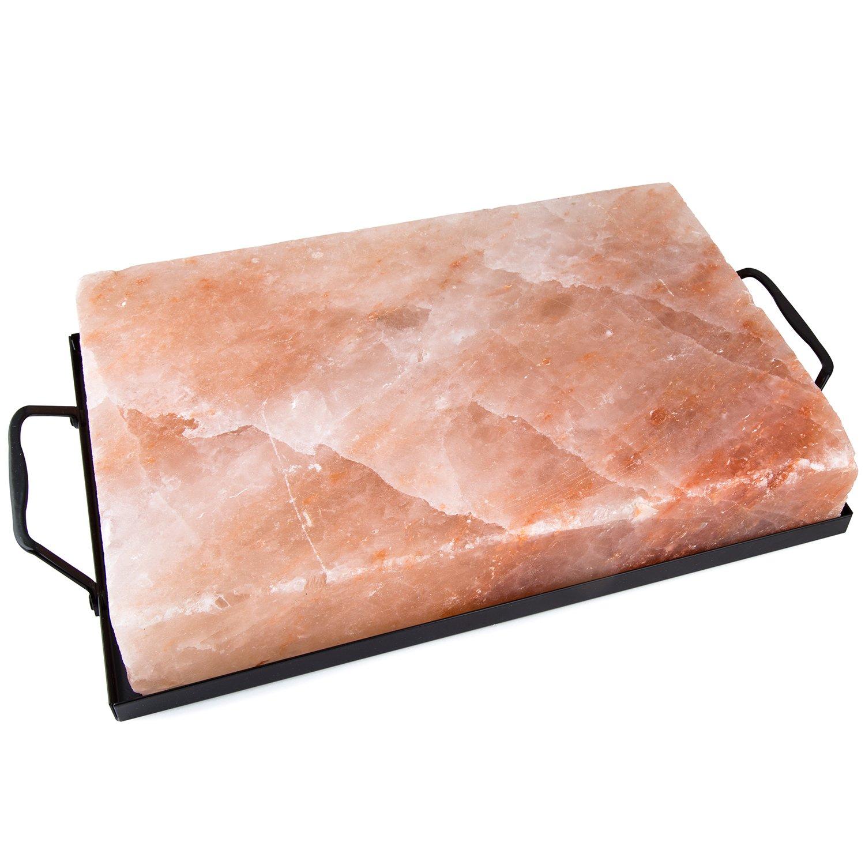 "Zenware 12"" x 8"" x 2"" Natural Himalayan Block Cooking Salt Plate & Holder Set - Black"