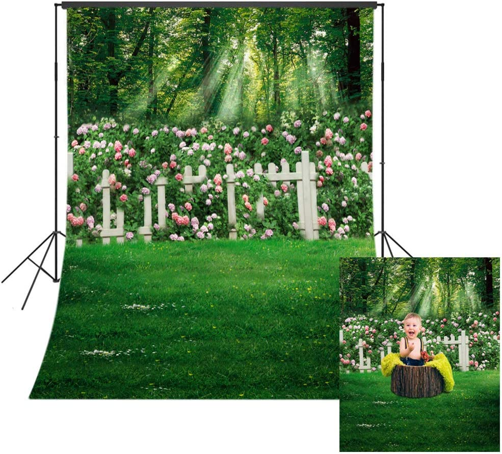 LB 5x7ft Green Leaves Backdrop Backyard Garden Backdrop Rose Flower Grass Forest Vinyl Backdrops for Photography Baby Shower Party Birthday Party Portrait Photo Booth Studio Props