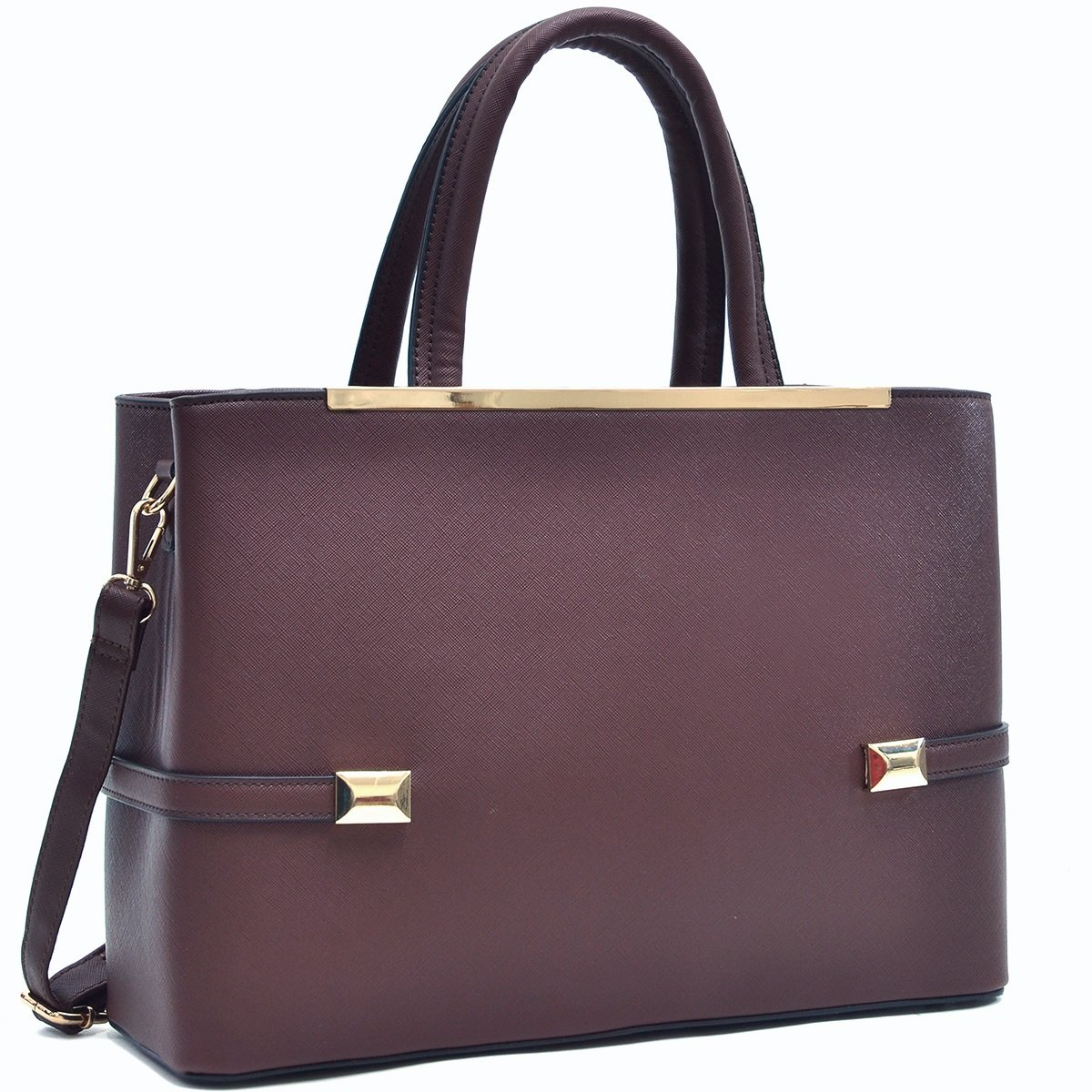 MMK Collection Women Solid Color Large Size PU Leather Simple Concise Business Style(8895N) with Gold Tone Framed Tote Bag Top Handle Bag Handbag with Shoulder Strap (Coffee)