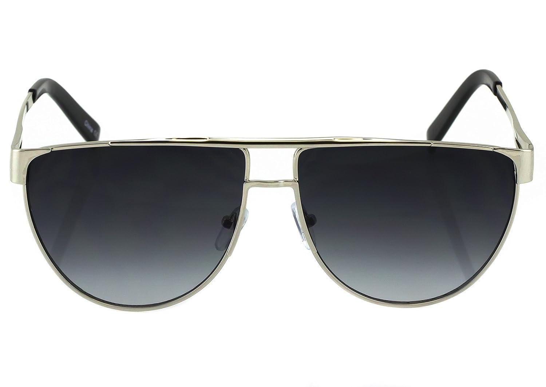 Elite Flat Top Retro Vintage Metal Bar Aviator Oversized Gradient Len Sunglasses