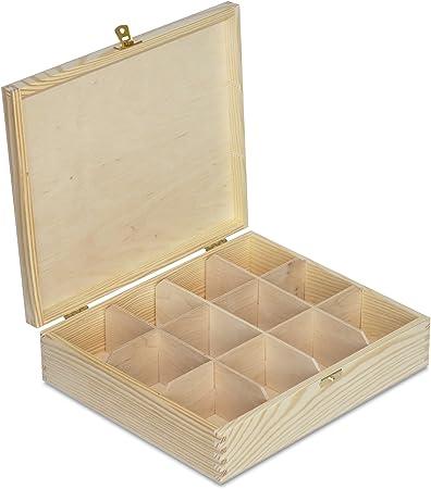 Creative Deco Grande Caja para Té Bolsita Madera | 12 Compartimentos | 29 x 25 x 7,5 cm | Varias Medidas Disponibles | con Tapa y Cerradura | Ideal para Decoupage, Decoración y Almacenaje: Amazon.es: Hogar
