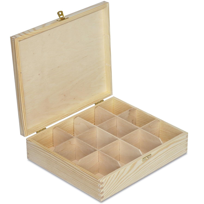 Grande Caja para Té Bolsita Madera | 12 Compartimentos | 29 x 25 x 7,5 cm Decoradas Decoupage y Decoración: Amazon.es: Hogar