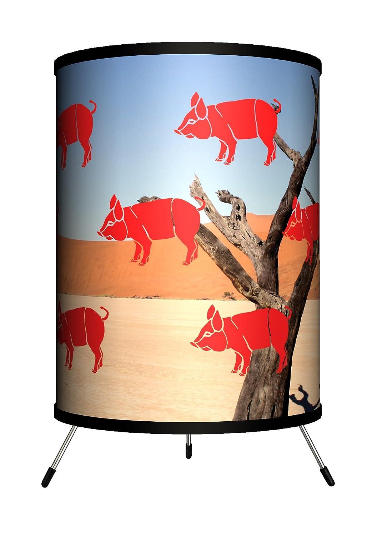 Lamp-In-A-Box TRI-VAR-REDPI Various Red Pigs Flying in the Desert Tripod Lamp 8 x 8 x 14