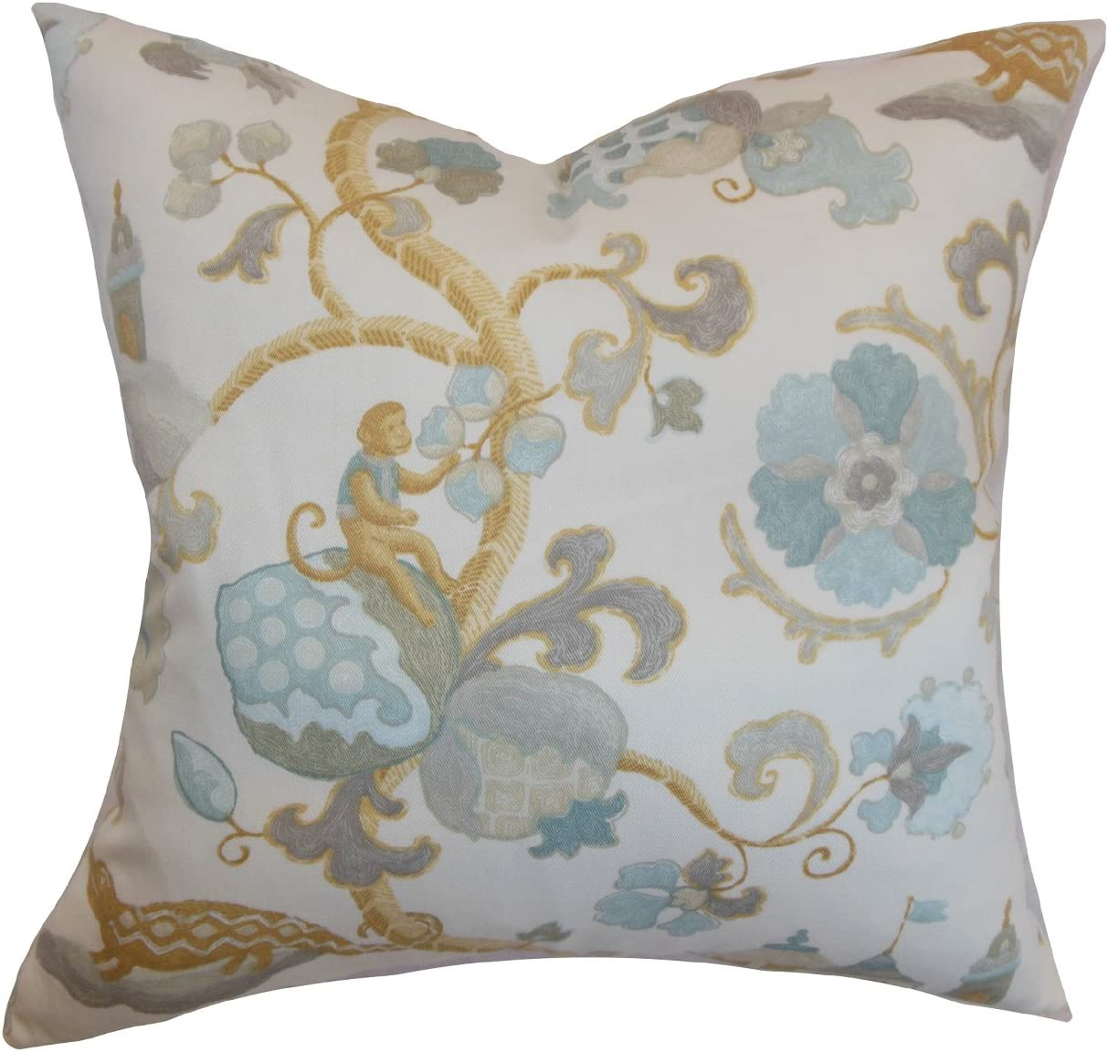 The Pillow Collection Majella Floral Pillow, Natural Aqua