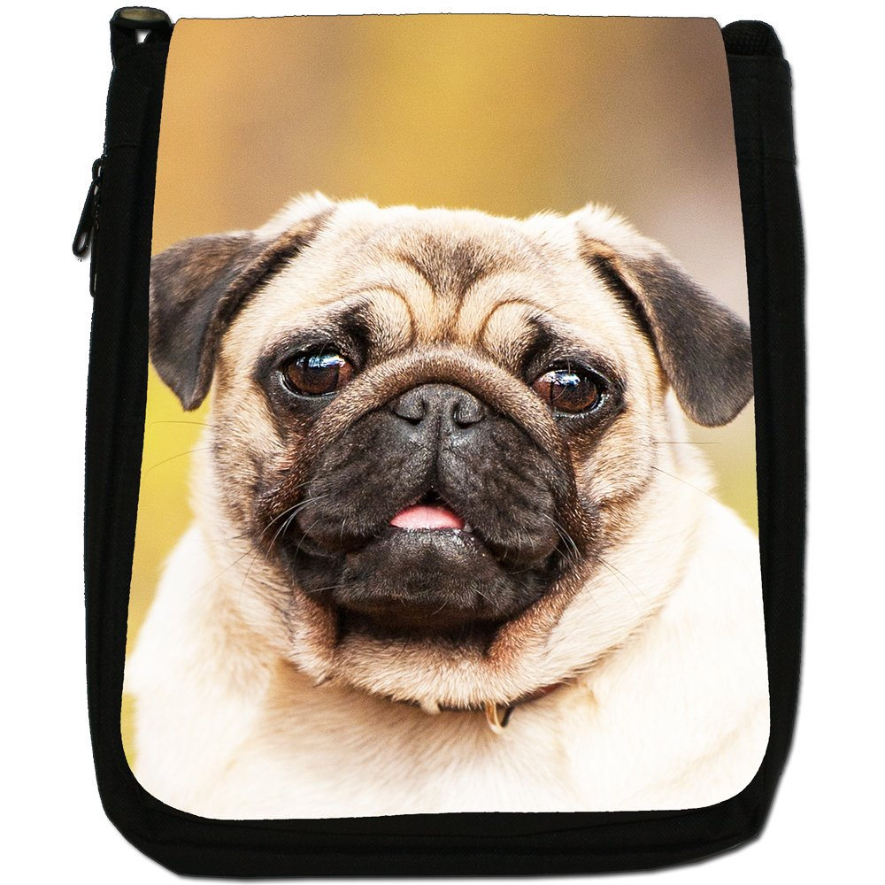 China Asian Love Pug Dogs Medium Black Canvas Shoulder Bag - Size Medium