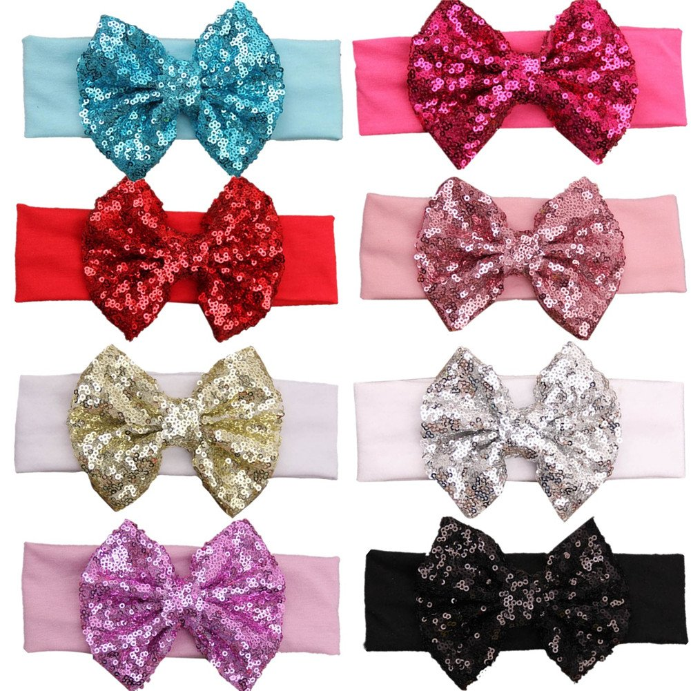 GBATERI 8pcs Baby Girls Sequins Headbands Cotton with Glitter Sequins Bow Elastic Sparkle Headdress Hairband for Babies