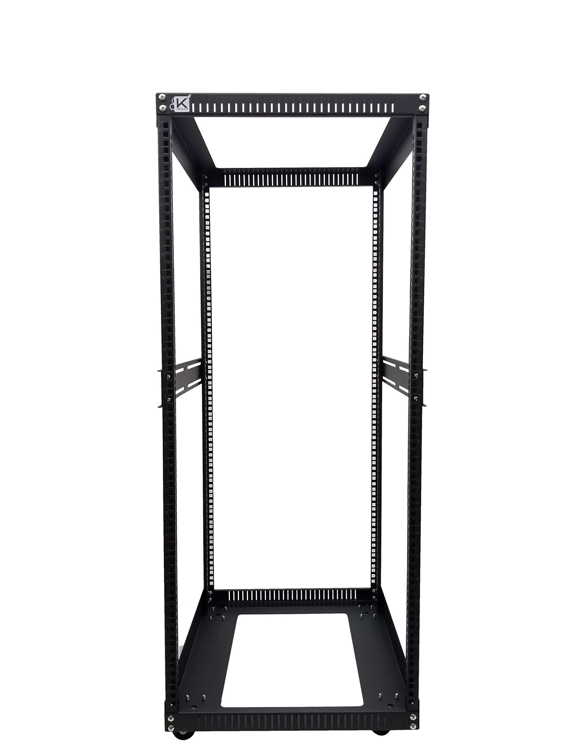Kenuco 25U Standing Open Frame Rack with 4 Wheels and 4 Legs - Steel Network Equipment Rack 17.75 Inch Deep