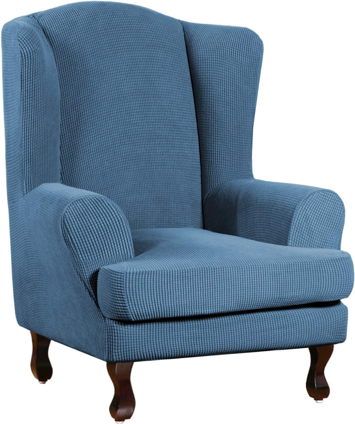 Super Stretch Stylish Furniture Cover/Wingback Chair Cover with Elastic Bottom Anti-Slip Foam Sticks Featuring Jacquard Fabric Small Checks Fabric (Wing Chair, Dustyblue)