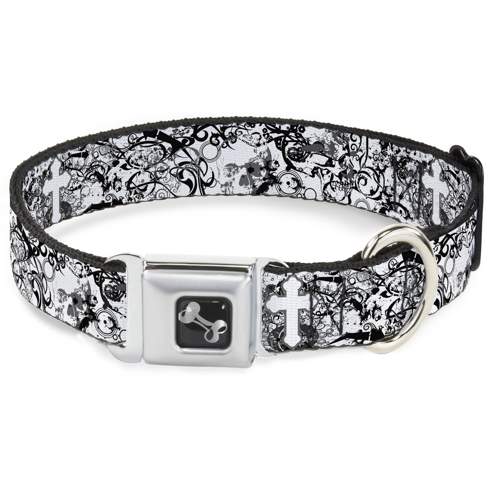 Buckle-Down Seatbelt Buckle Dog Collar Orthodox Chaos 1.5  Wide Fits 18-32  Neck Large