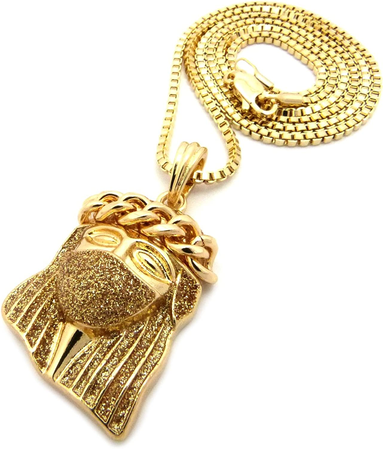 NYFASHION101 Thick Crown Shimmering Mask Jesus Micro Pendant 2mm Box Chain Necklace