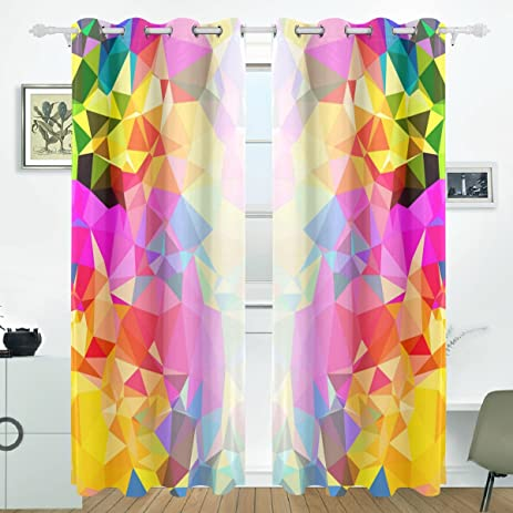 Amazon.com: ALIREA Colorful Rainbow Blackout Curtains Darkening ...