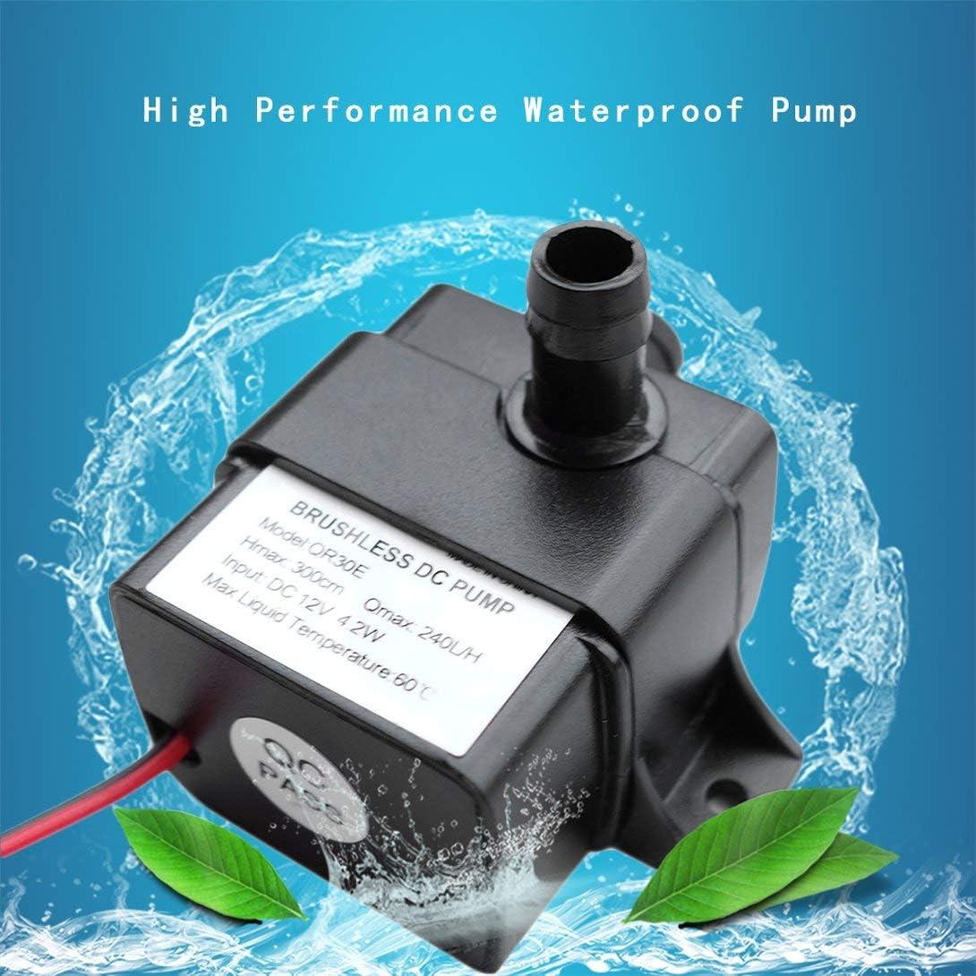 Rouku Alto Rendimiento QR30E DC 12V 4.2W 240L H Velocidad de Flujo CPU Enfriamiento Coche Sin escobillas Bomba de Agua Impermeable sin escobillas Bomba sin escobillas