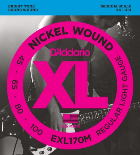 D'Addario EXL170M Nickel Wound Bass Guitar Strings, Light, 4