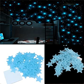 Stickonn Blue Fluorescent Glow In The Dark Star Wall Sticker(Pack Of 50,  Size Part 48