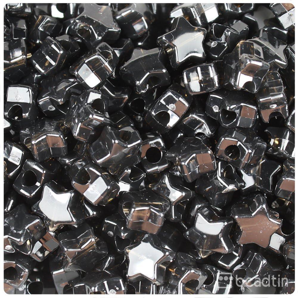 Transparent black multicolor glitter pony beads