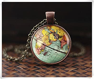 World map globe necklace earth necklace antique map necklace world map globe necklace earth necklace antique map necklace gumiabroncs Choice Image