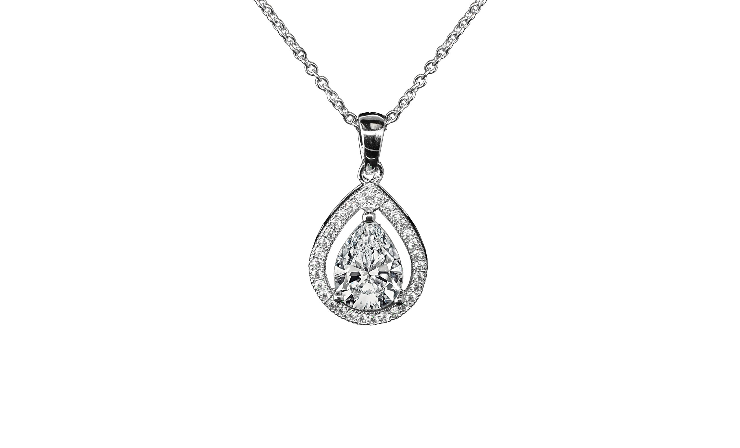 Cate & Chloe Isabel Queen 18k White Gold Halo Teardrop Pendant Necklace - Silver Halo Necklace w/Solitaire Round Cut Cubic Zirconia Diamond Cluster - Wedding Anniversary Jewelry - MSRP - $150