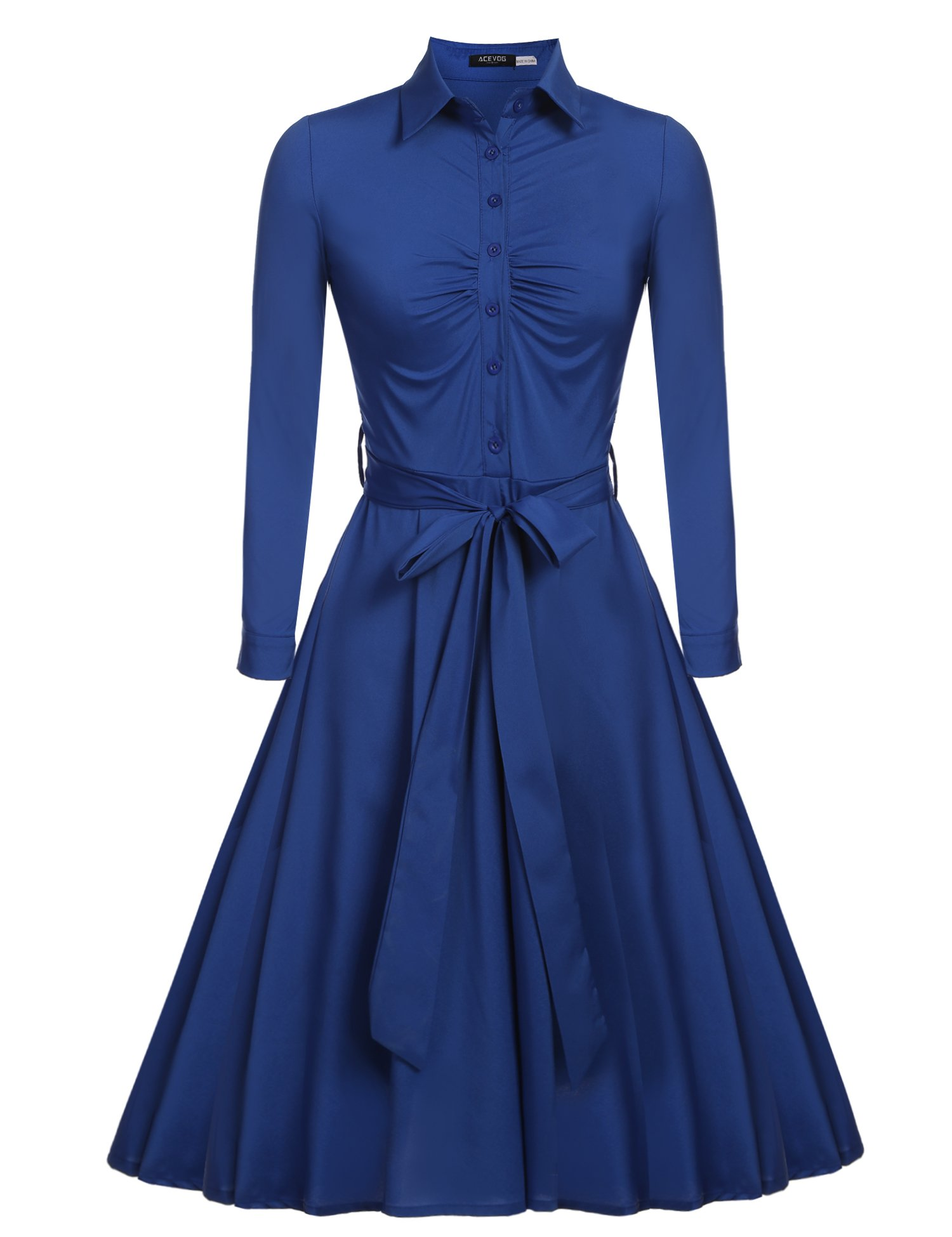 Beyove Women's Solid Retro Vintage Style Cocktail Party Swing Dress Blue S