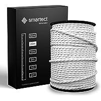smartect Textilkabel för Lampor Vit - 20 Meter Tvinnad trasa täckt Tråd - 3 Prong (3 x 0.75mm²) Trasa Elektrisk Sladd…