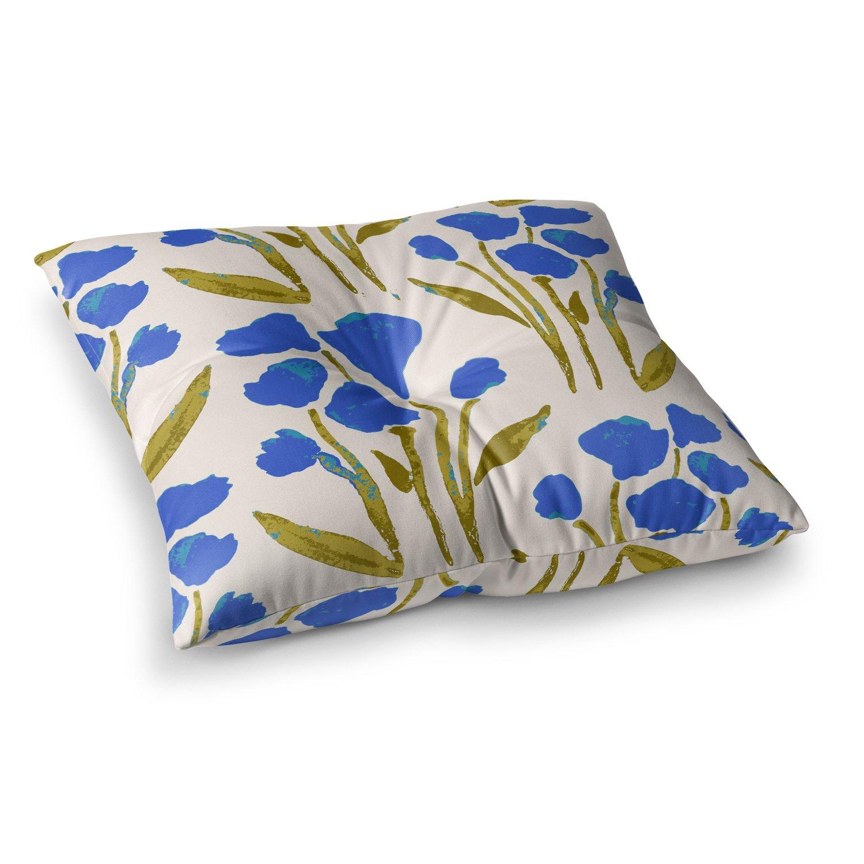23 x 23 Square Floor Pillow Kess InHouse Gukuuki Shirley Gem Blue Green