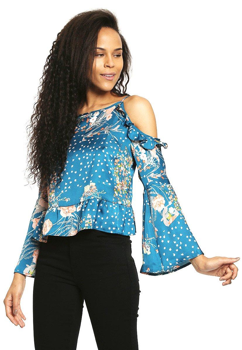 Salsa Blusa Azul Cold Shoulders Blusa para Mujer 3dd229c6900f