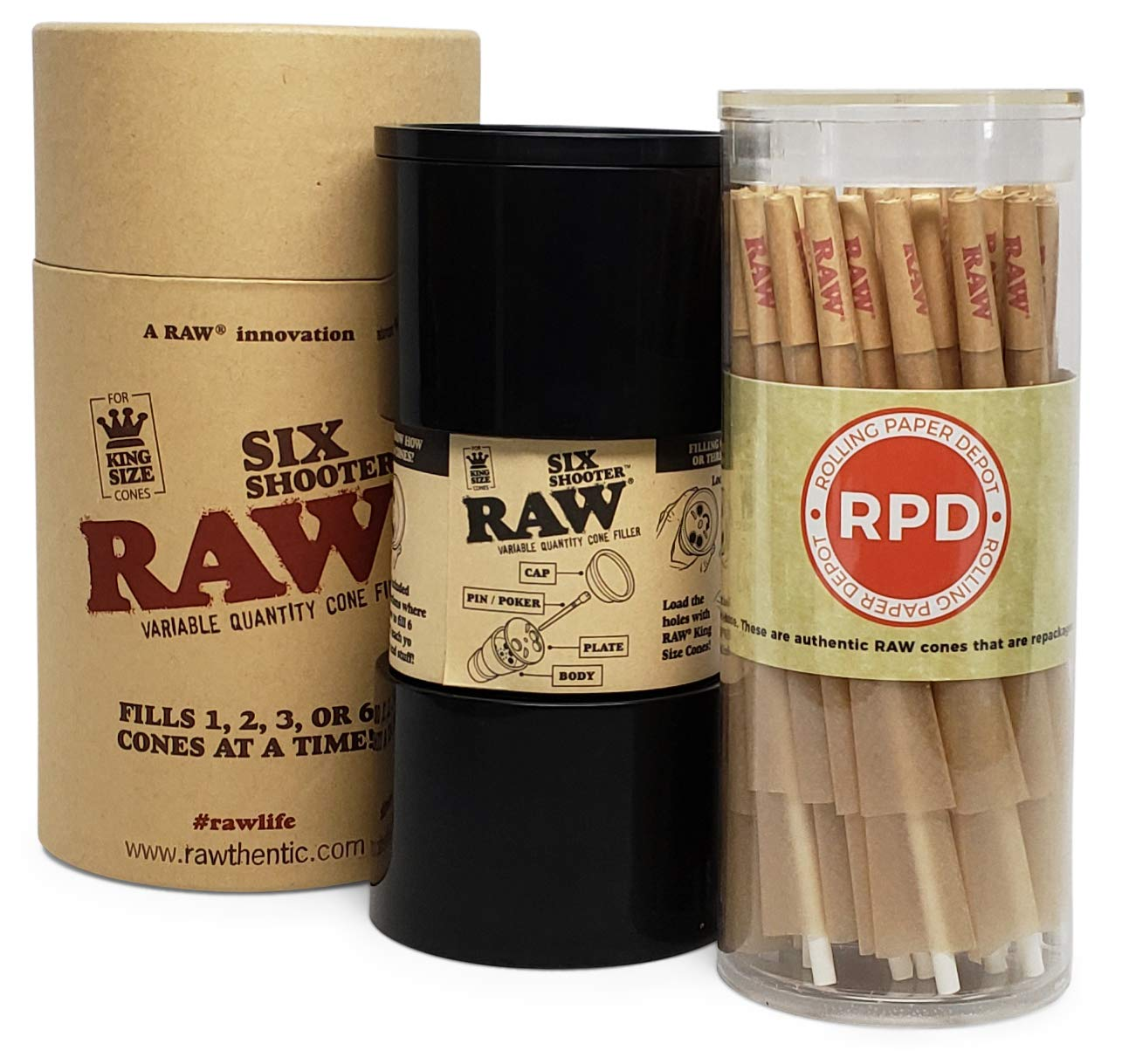 RAW Six Shooter Cone Filler with 50 RAW Classic King Size Cones by Rolling Paper Depot
