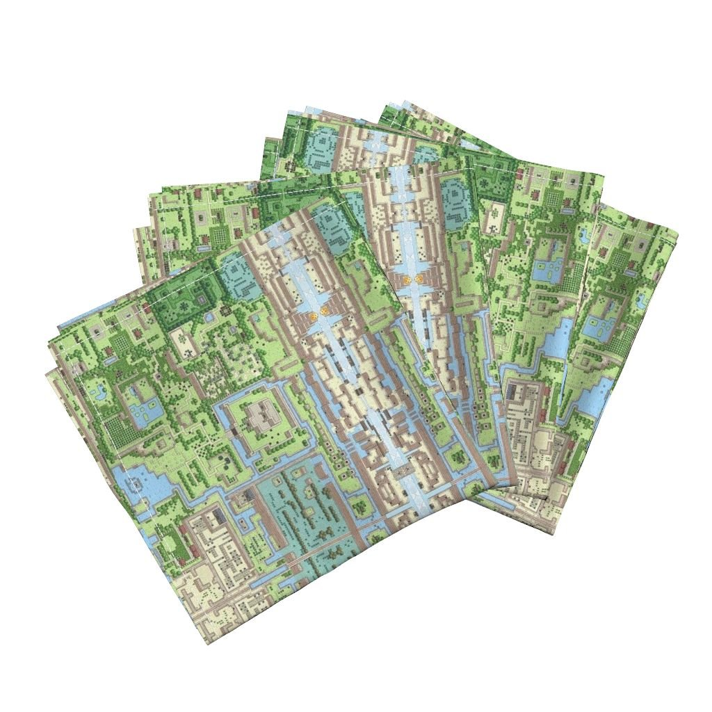 Roostery Video Game Organic Sateen Dinner Napkins Z-Scape by Ldqcanada Set of 4 Cotton Dinner Napkins Made