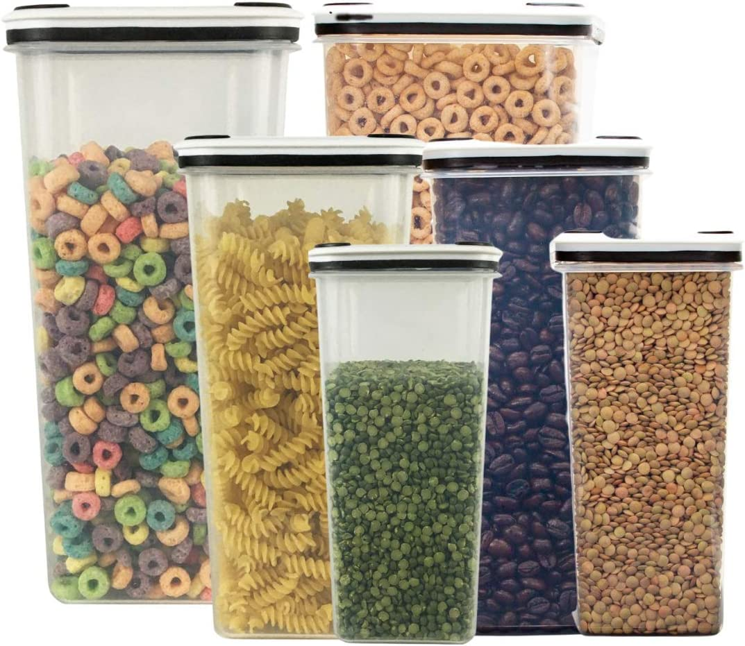Food Storage Clear Containers Durable BPA-free Plastic, Slim Tall Design Pantry Storage Organization Air-Tight to Keep Food Fresh longer Canisters (Small-40oz, Medium-81oz, Large-142oz w/lids) (6)