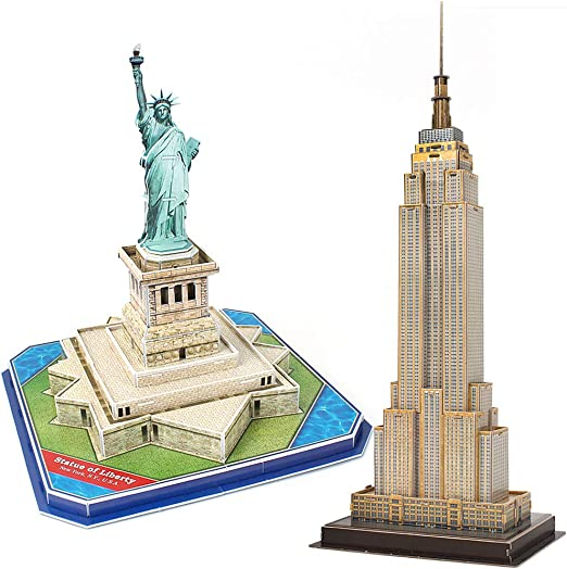 CubicFun 3D Puzzle Small US Architectural Model Kits Collection Toy, The Empire State Building, and Statue of Liberty in ONE Set