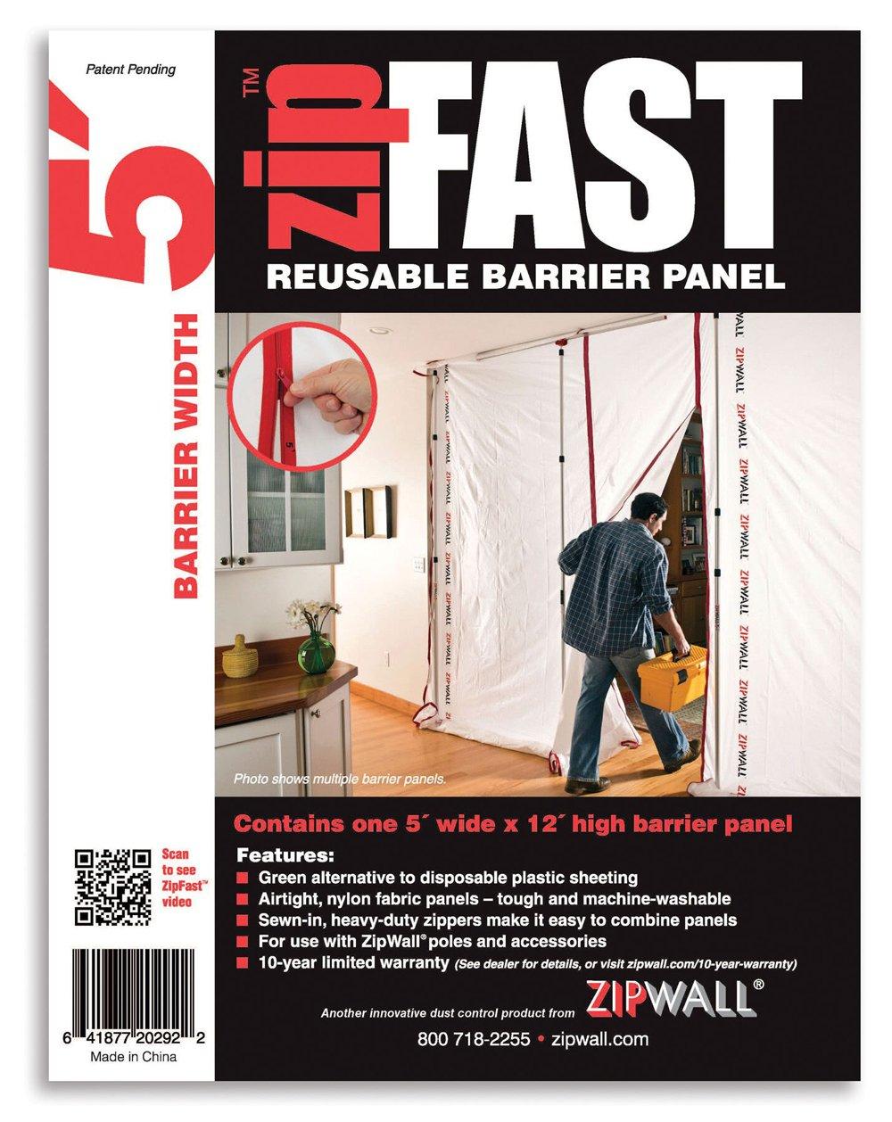 ZipWall ZipFast Reusable Barrier 5' Panel for Dust Barriers,  4-Pack, ZF5-PK4