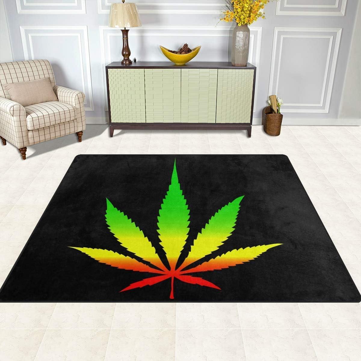 2 x 3 ft ZHYF Rug Marijuana Leave Non Slip Area Rug for Living Dinning Room Bedroom Kitchen Weed Leave Nursery Rug Floor Carpet Yoga Mat 60 x 90 cm