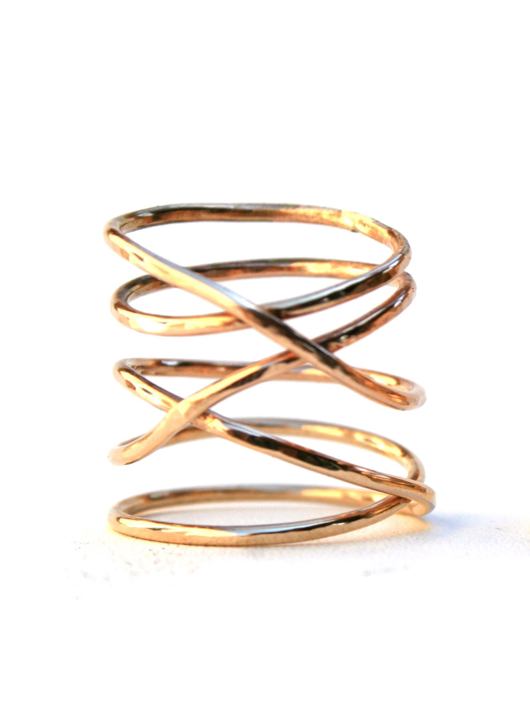 14k Gold Filled Twisted Ring -Thin Hammered Stacking Ring (6.5)