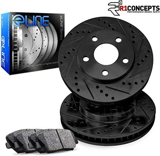 Front R1 Concepts KEOE10728 Eline Series Replacement Rotors And Ceramic Pads Kit