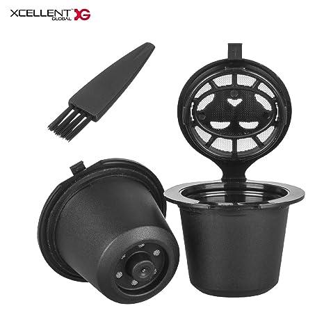 Xcellent Global Pack de 2 Cápsulas de Café Reutilizables+Filtro para Máquinas de Café Nespresso