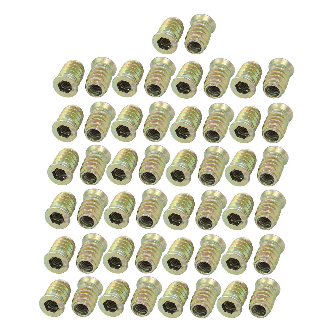 uxcell M6 Female to M10 Male Thread Furniture Insert Interface Hex Socket E-Nut 50pcs