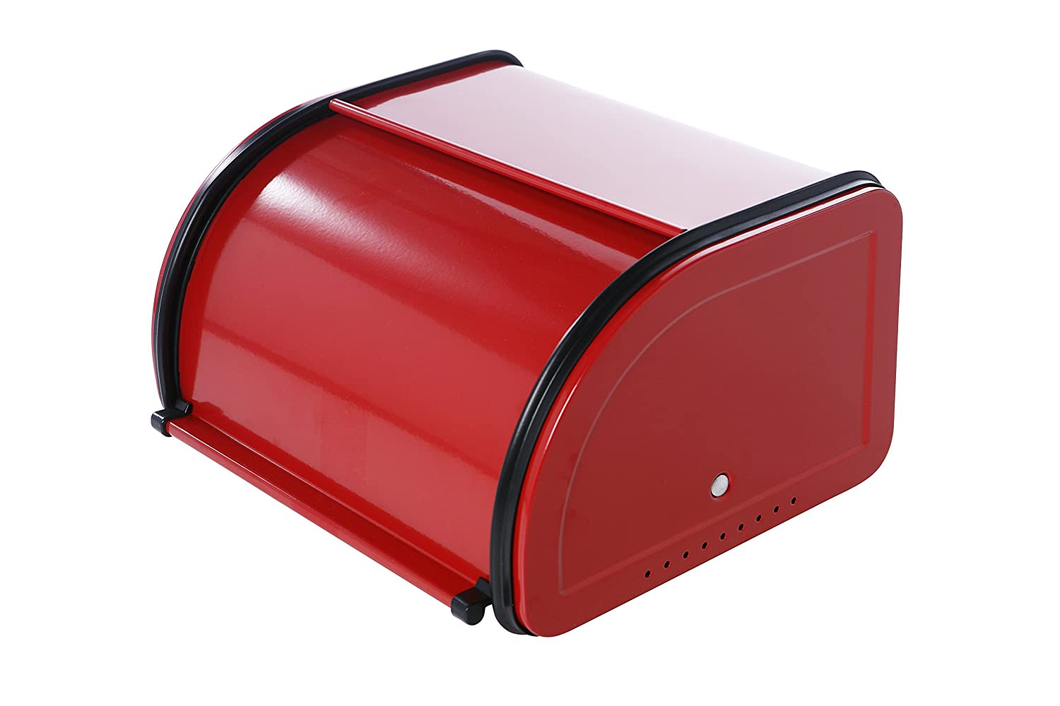 Bread Box For Kitchen Counter - Stainless Steel Bread Bin Storage Container with Roll Top Lid for Loaves, Pastries, and More - Retro/Vintage Inspired Design, Red, 10 x 8.5 x 5.5 Inches
