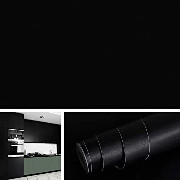 Livelynine Peel And Stick Wallpaper Black Contact Paper Self Adhesive Wall Paper Roll For Walls Desk Countertops Bedroom Cabinets Bathroom Windows Appliances Removable Waterproof 15 8x78 8 Inch Amazon Com