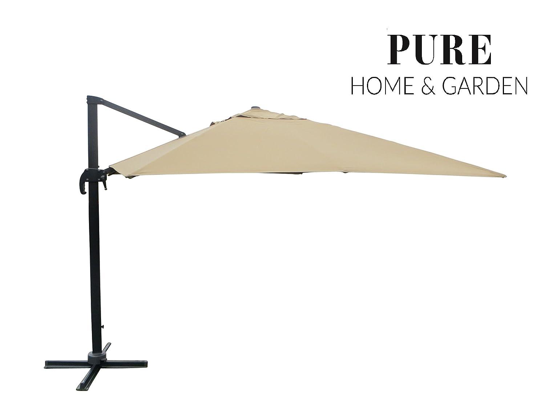 XXL Pendelschirm Colossal 400x300 taupe inklusive Ständer, UV-Schutz 50 Plus, 360 Grad drehbar und am Mast neigbar, Pure Home & Garden
