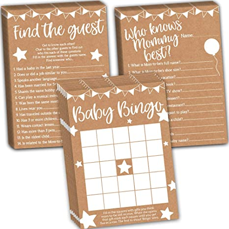 Amazon Com Baby Shower Games Pack Baby Bingo Find The Guest And