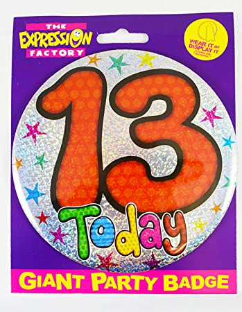 """6/"""" Jumbo Blue 13 Today Badge Boys 13th Birthday Party Supplies Holographic"""