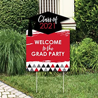 product image for Big Dot of Happiness Red Grad - Best is Yet to Come - Party Decorations - Red 2021 Graduation Party Welcome Yard Sign