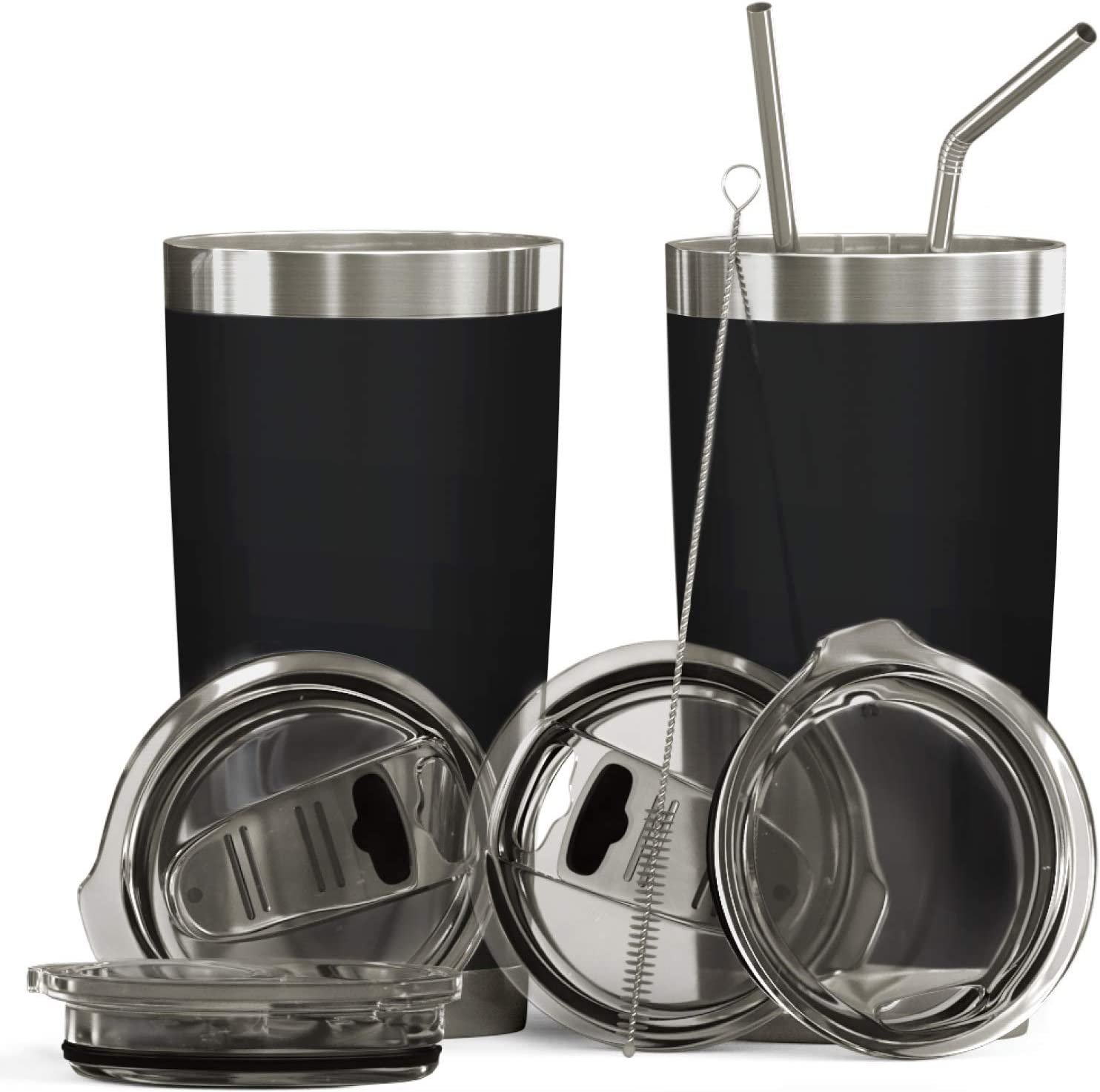 Bluepeak Double Wall Stainless Steel Vacuum Insulated Tumbler Set, 2-Pack. Includes Sipping Lids, Spill-Proof Sliding Lids, Straws, Cleaning Brush & Gift Box (20oz, Black)