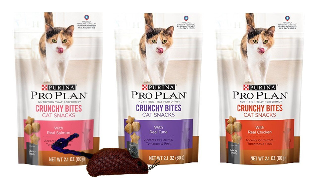 Purina Pro Plan Crunchy Bites Savory Treats For Cats 3 Flavor Variety Bundle with Catnip Mouse: (1) Real Salmon, (1) Real Tuna, and (1) Real Chicken, 2.1 Oz. Ea. (3 Bags w/Toy)