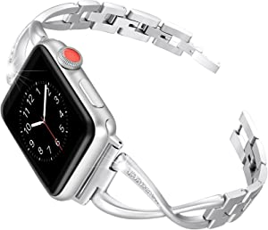 Secbolt Bands Compatible Apple Watch Band 42mm 44mm Iwatch Series 6/5/4/3/2/1 SE Women Dressy Jewelry Stainless Steel Accessories Wristband Strap, Silver