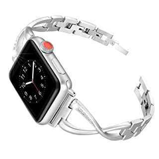 Secbolt Stainless Steel Band Compatible Apple Watch Band 42mm 44mm Women Iwatch Series 5 4 3 2 1 Accessories Metal Wristband X-Link Sport Strap, Silver