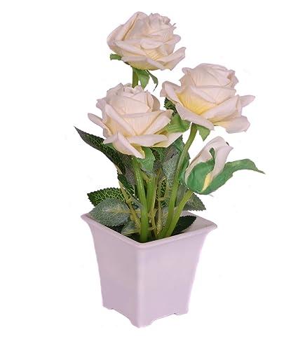 Buy pindia decorative artificial white rose flower plant with pot pindia decorative artificial white rose flower plant with pot for home and office decor 9x8x21 mightylinksfo